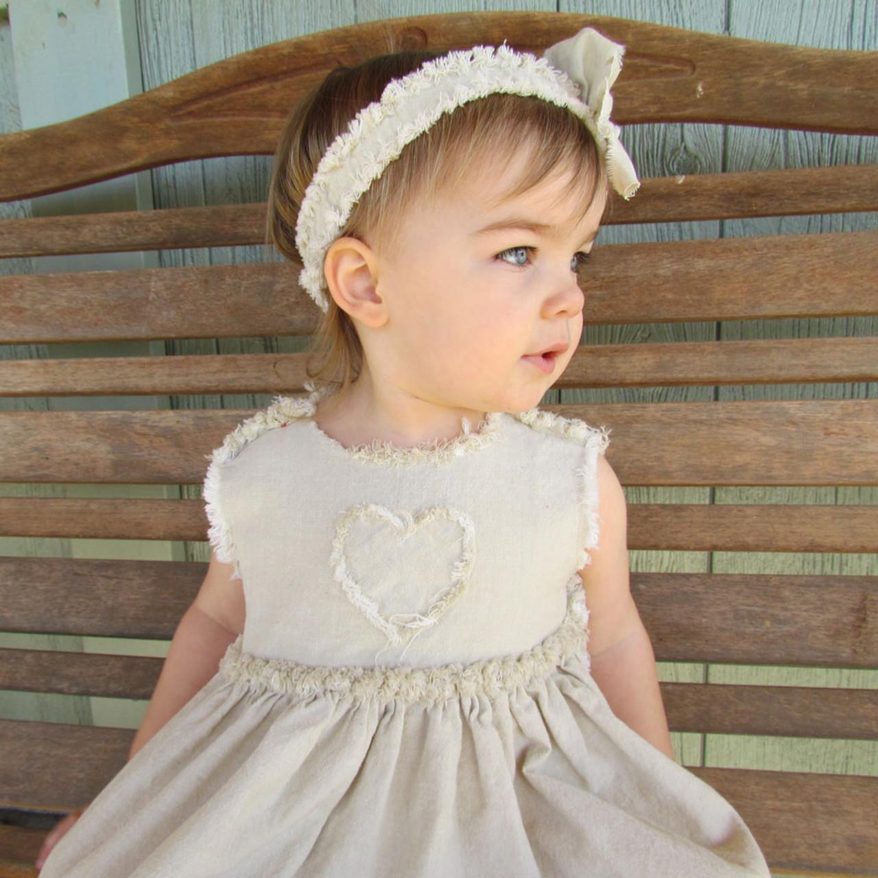 Ruthie Ragged Homespun Toddler Girls Dress, Bloomers & Headband Pattern