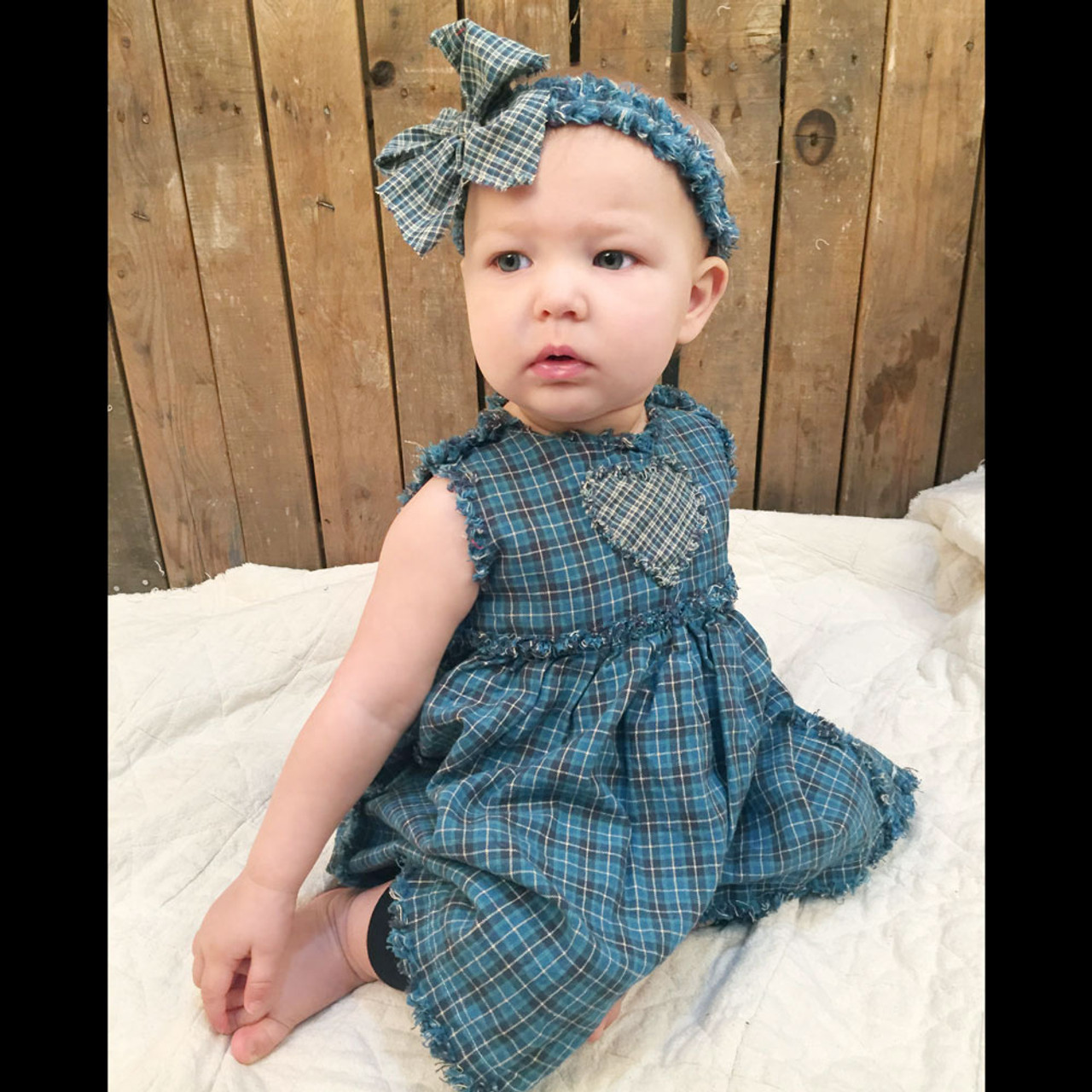Ruthie Primitive Style Baby Girls Dress, Bloomers & Headband Pattern