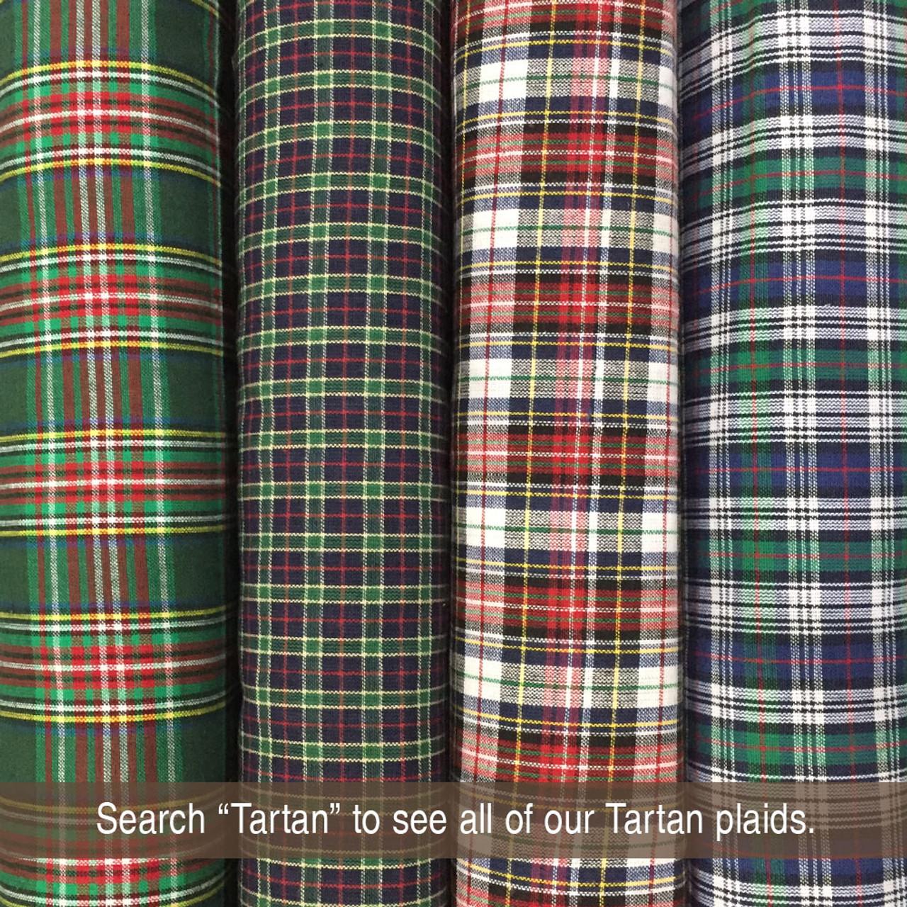Red Plaid Fabric Red Royal Stewart Tartan Red and Green Plaid Homespun 100/% Cotton Fabric w61