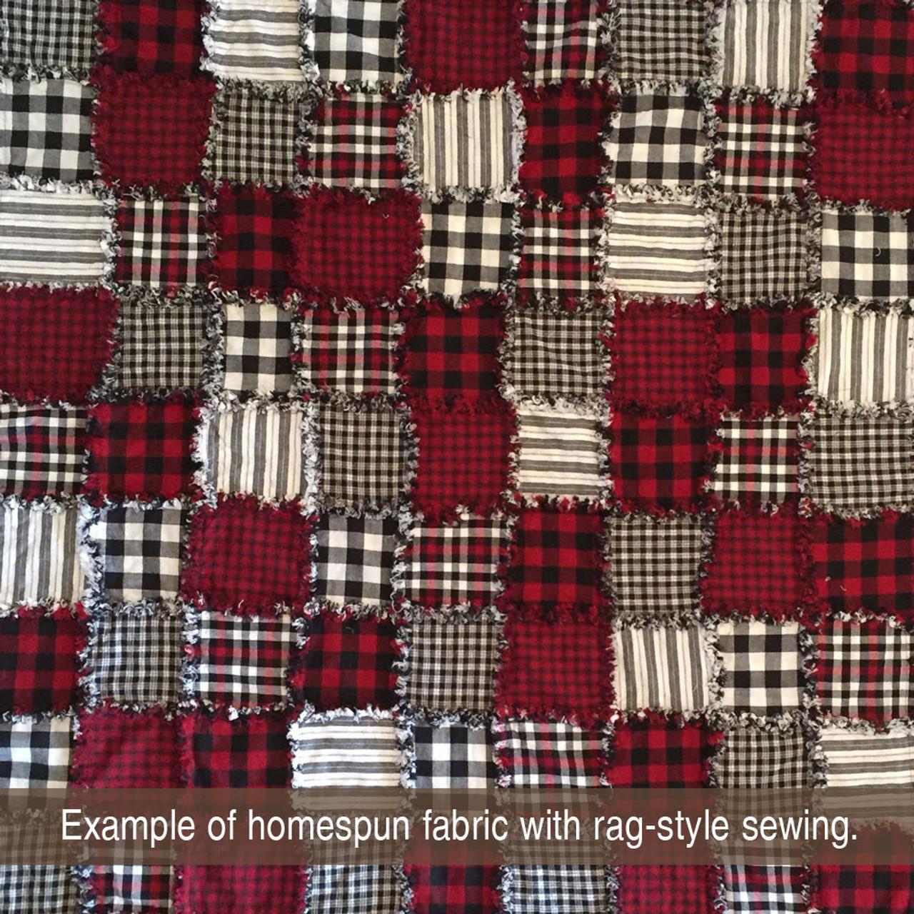 Mountain Lodge 2 White Plaid Homespun Cotton Fabric