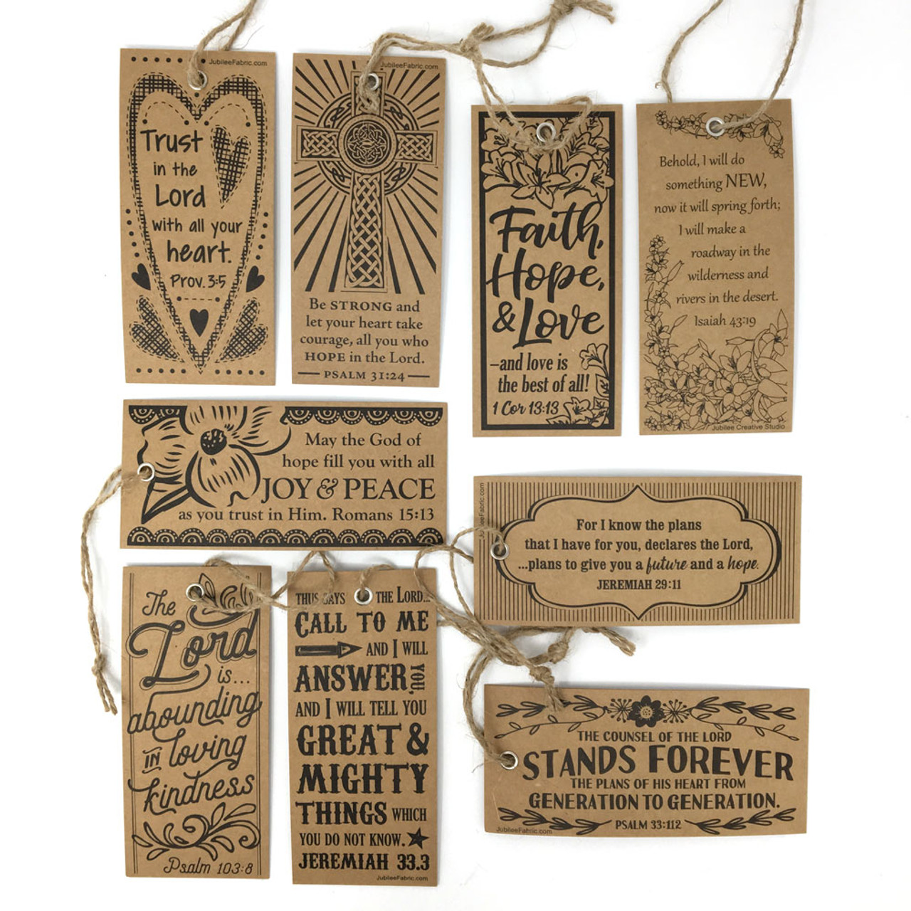 Assorted Kraft Scripture Bookmark Tags - Set of 90