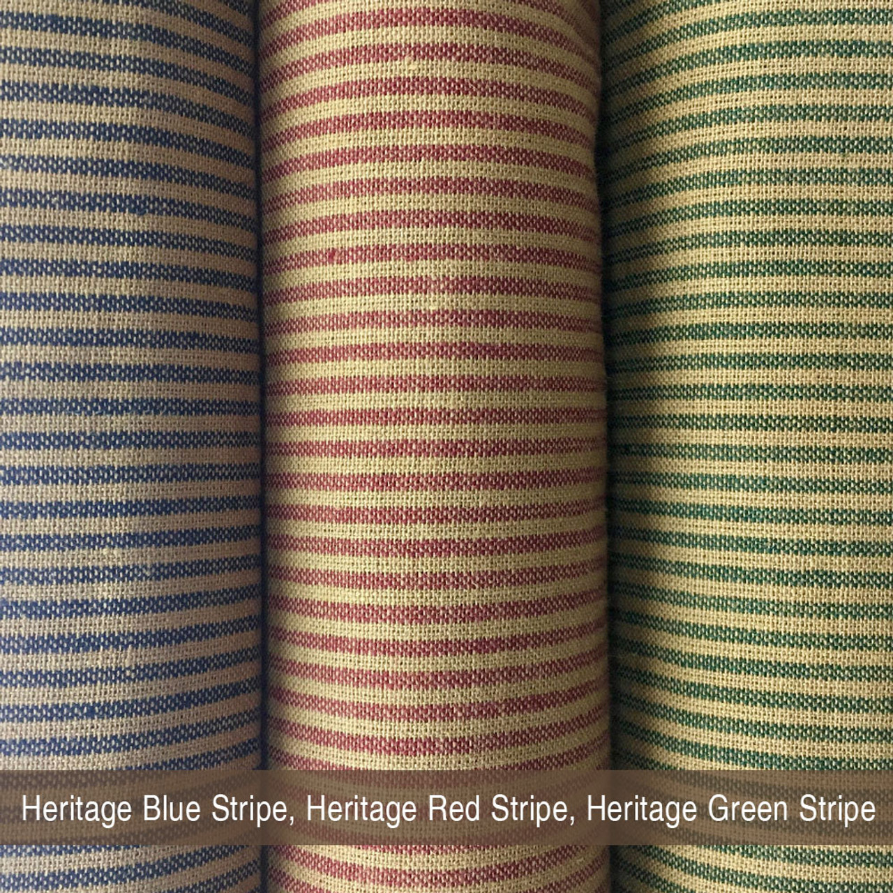 Heritage Green Stripe Homespun Cotton Fabric