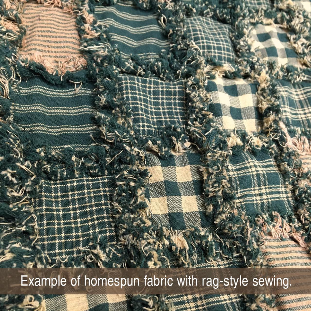 Primitive Green 5 Mini Buffalo Homespun Cotton Fabric