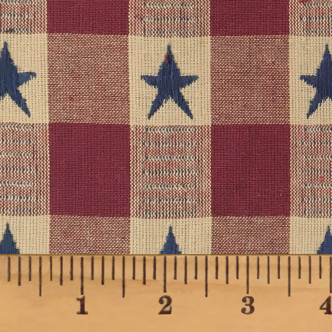Large Star Red Dobby Homespun Cotton Fabric