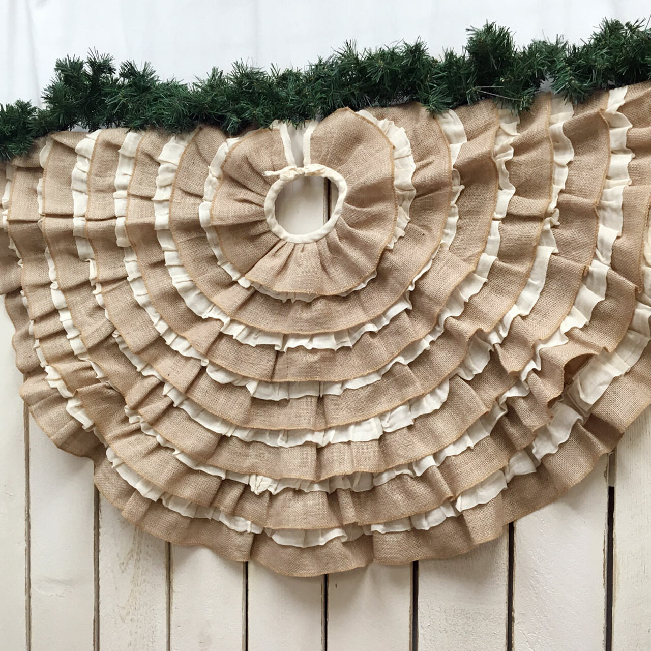 48 Ruffled Tobacco Cloth Burlap Christmas Tree Skirt Jubilee Fabric