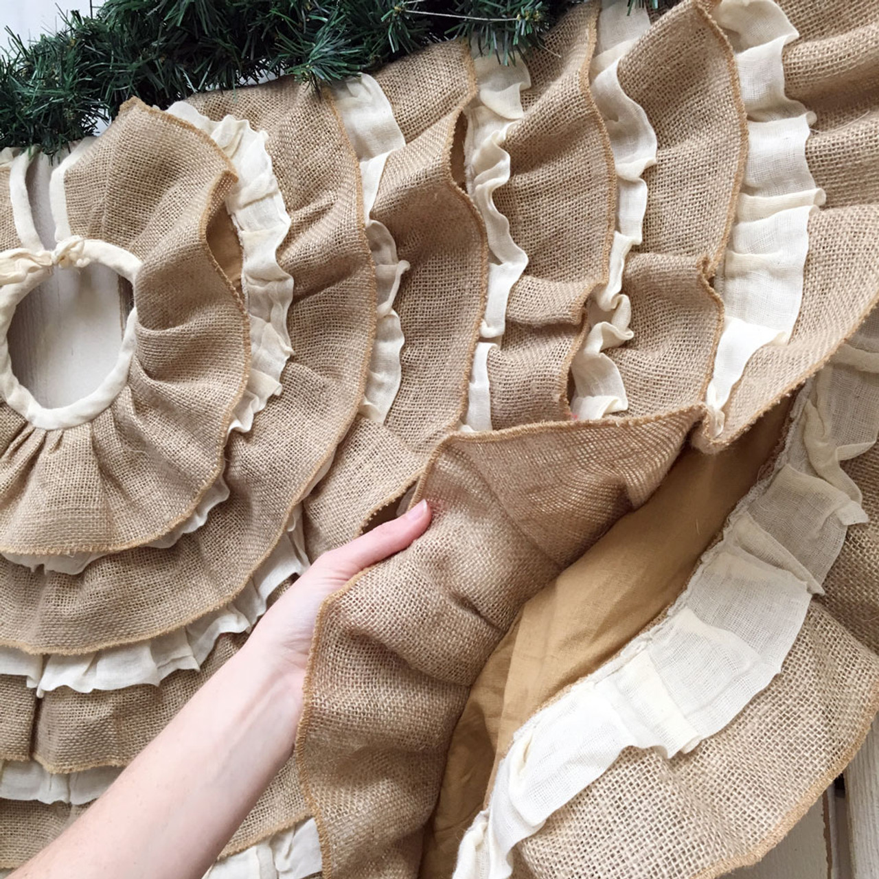 "48"" Ruffled Tobacco Cloth & Burlap Christmas Tree Skirt"