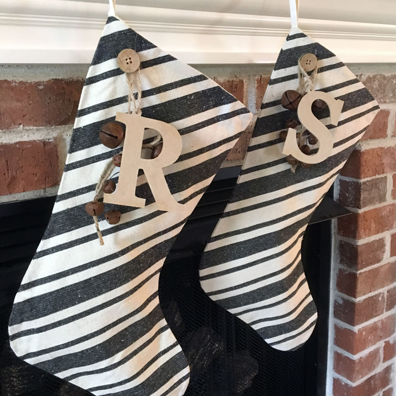 Dark Gray Stripe Christmas Stocking With Personalized Letter Charm and Rusty Bells