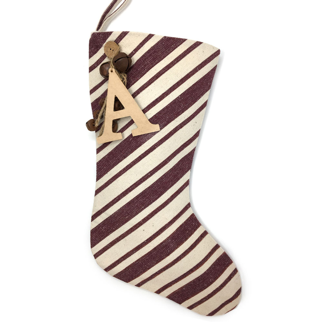 Dark Red Stripe Christmas Stocking With Personalized Letter Charm & Rusty Bells