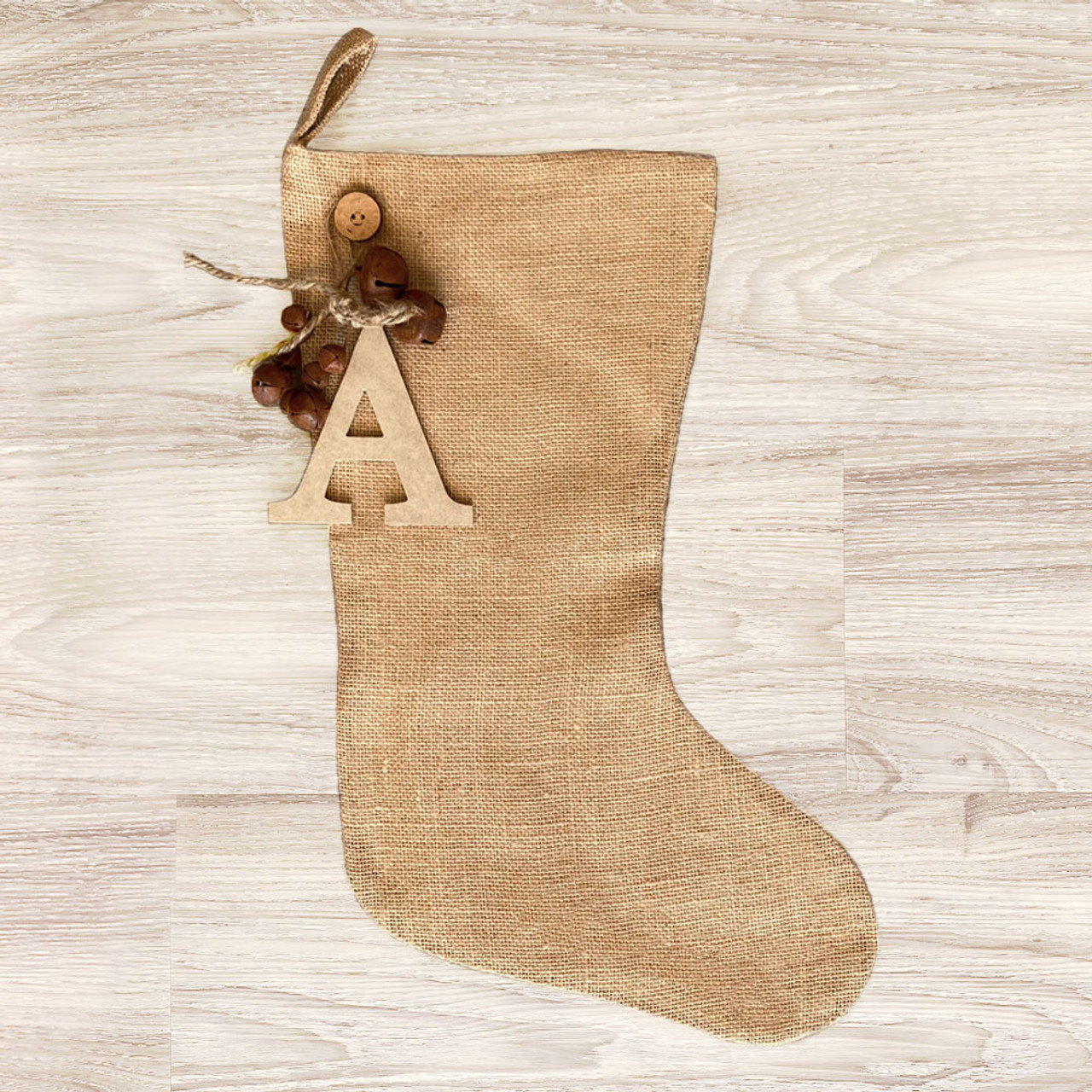 Burlap Christmas Stocking With Rusty Bells Ornament and Personalized Letter Charm