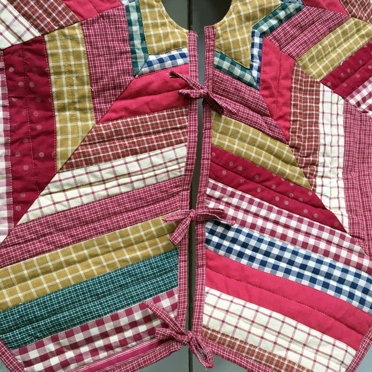 "48"" Primitive Quilted Homespun Plaid Christmas Tree Skirt"