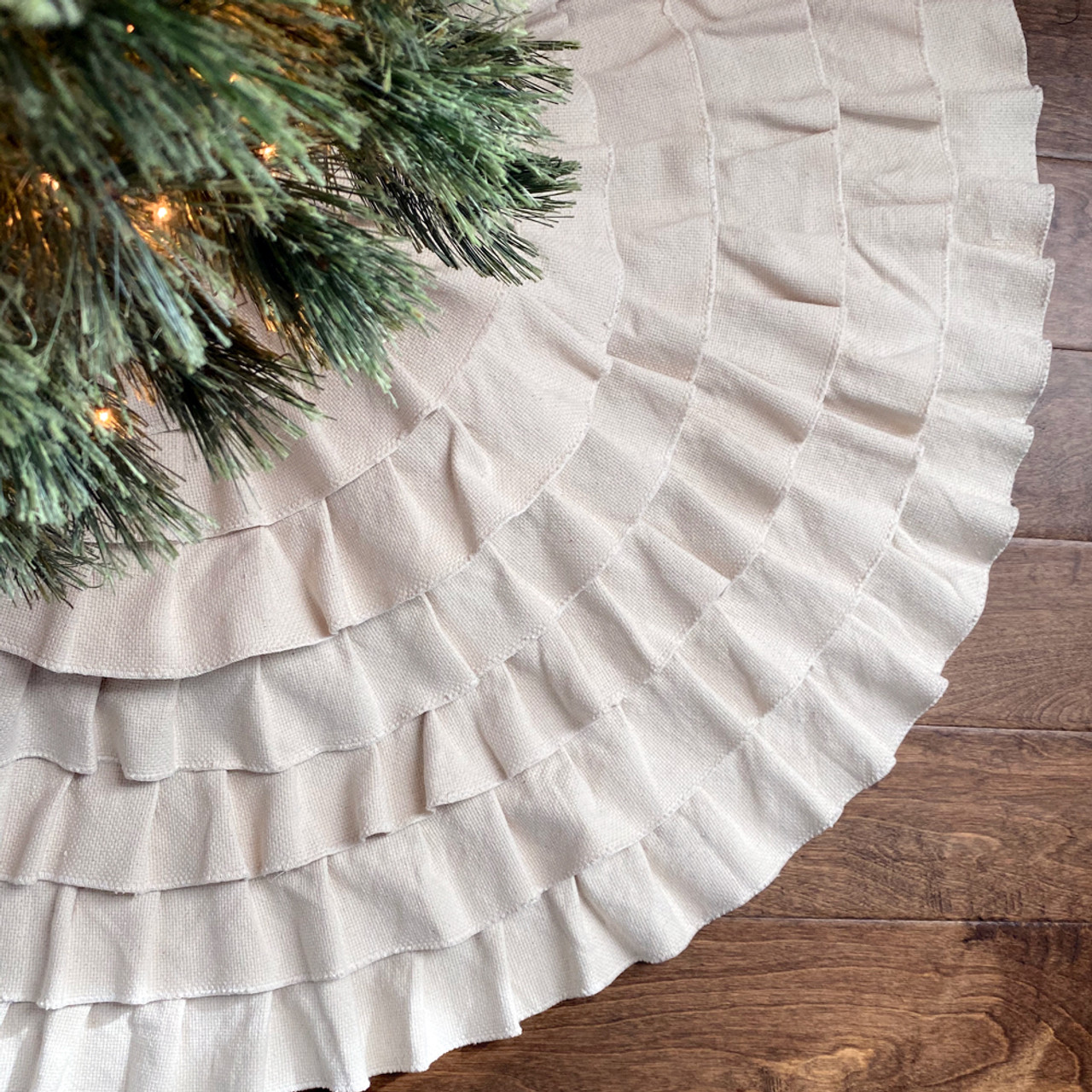 "48"" Ruffled Shabby Natural White Cotton Christmas Tree Skirt"