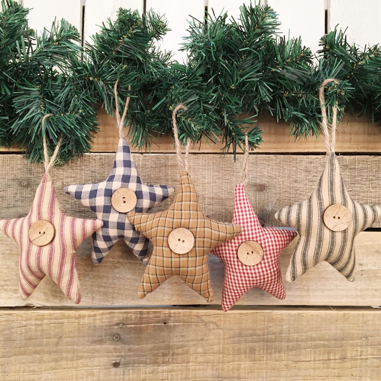Homespun Fabric Rustic Star Christmas Ornaments Set Of 5 Jubilee Fabric