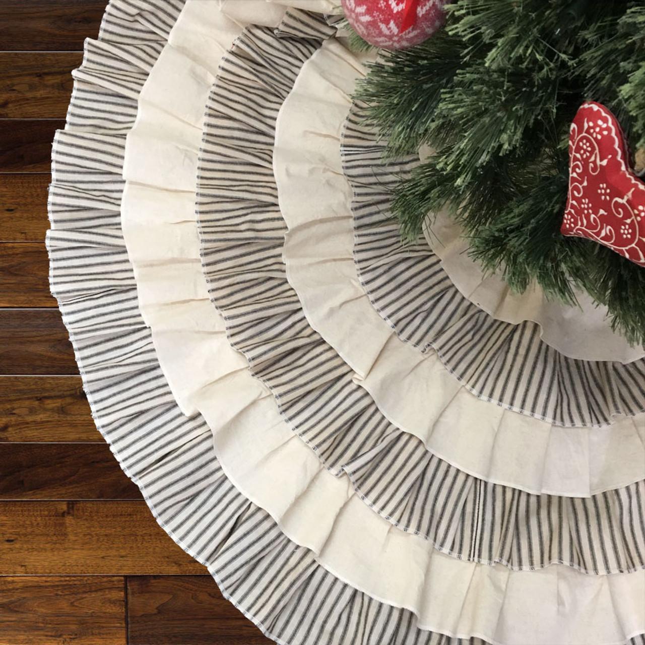 """48"""" Ruffled Black Ticking Stripe Christmas Tree Skirt - New Design 2020!"""