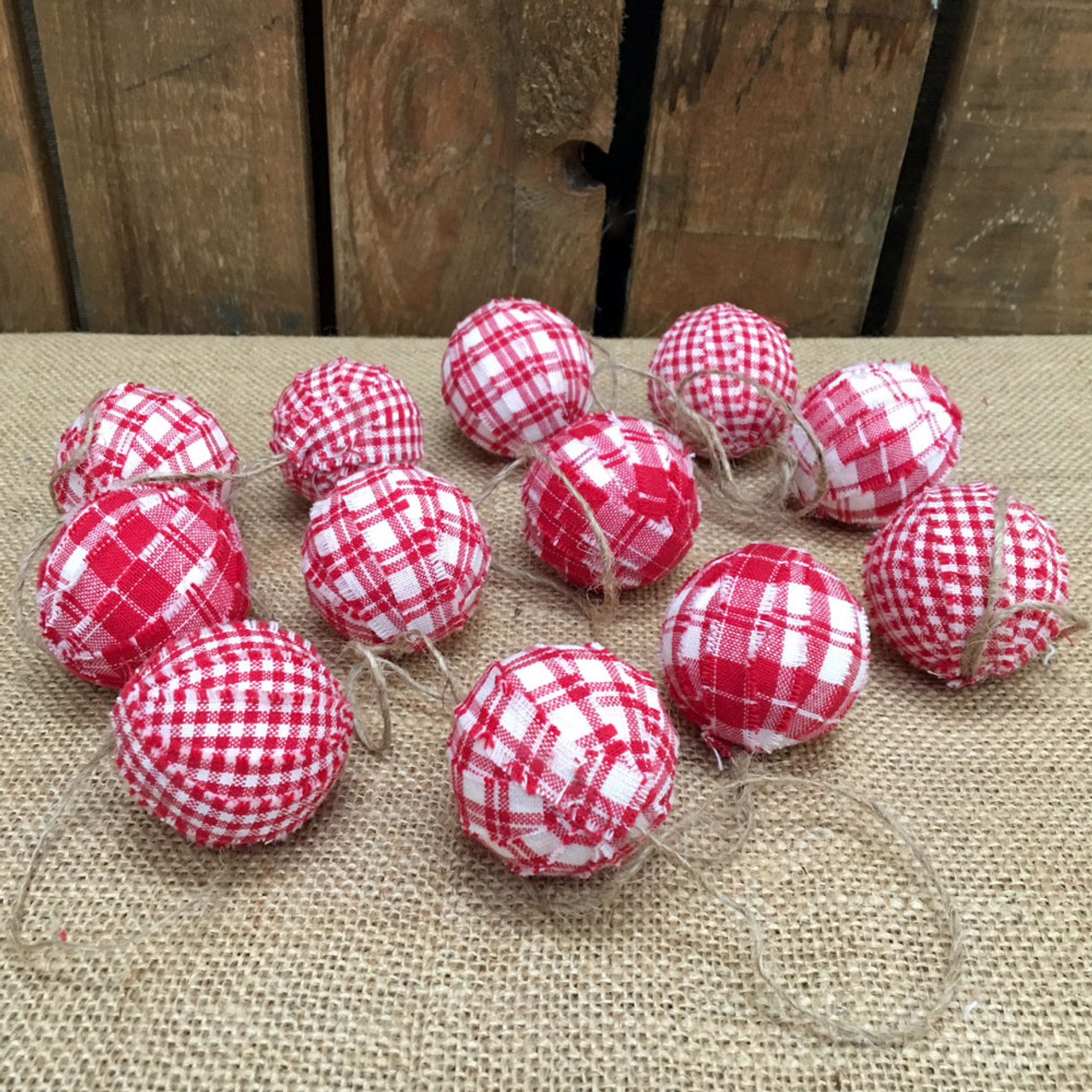 Cherry Red & White Plaid Homespun Christmas Ball Ornaments Set of 12