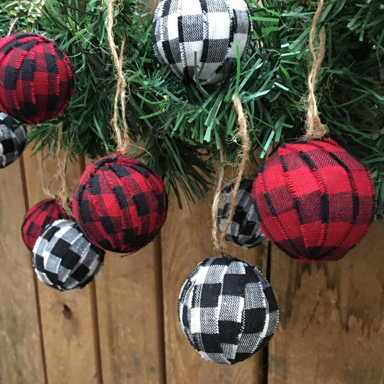 Red White Black Mini Buffalo Plaid Homespun Christmas Ball Ornaments Set Of 12 Jubilee Fabric