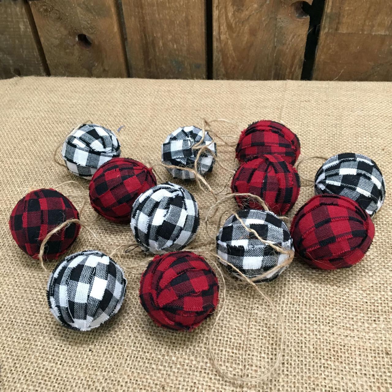 Red, White & Black Mini Buffalo Plaid Homespun Christmas Ball Ornaments Set of 12