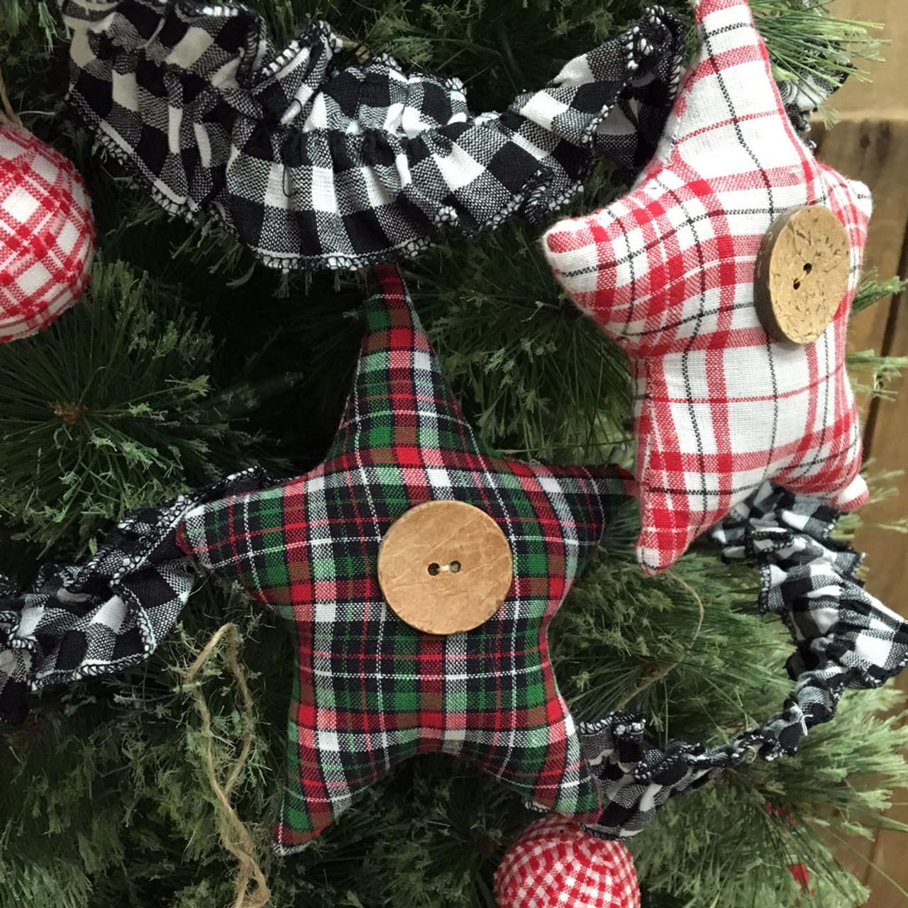 Tartan Plaid Homespun Fabric Star Christmas Ornaments - Set of 3