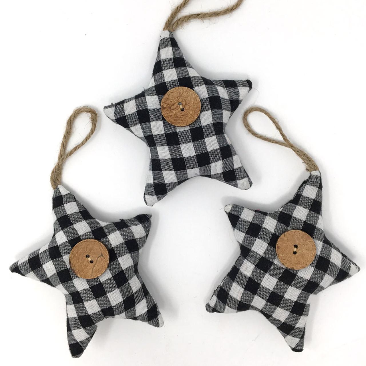 Black & White Mini Buffalo Plaid Homespun Fabric Star Christmas Ornaments - Set of 3