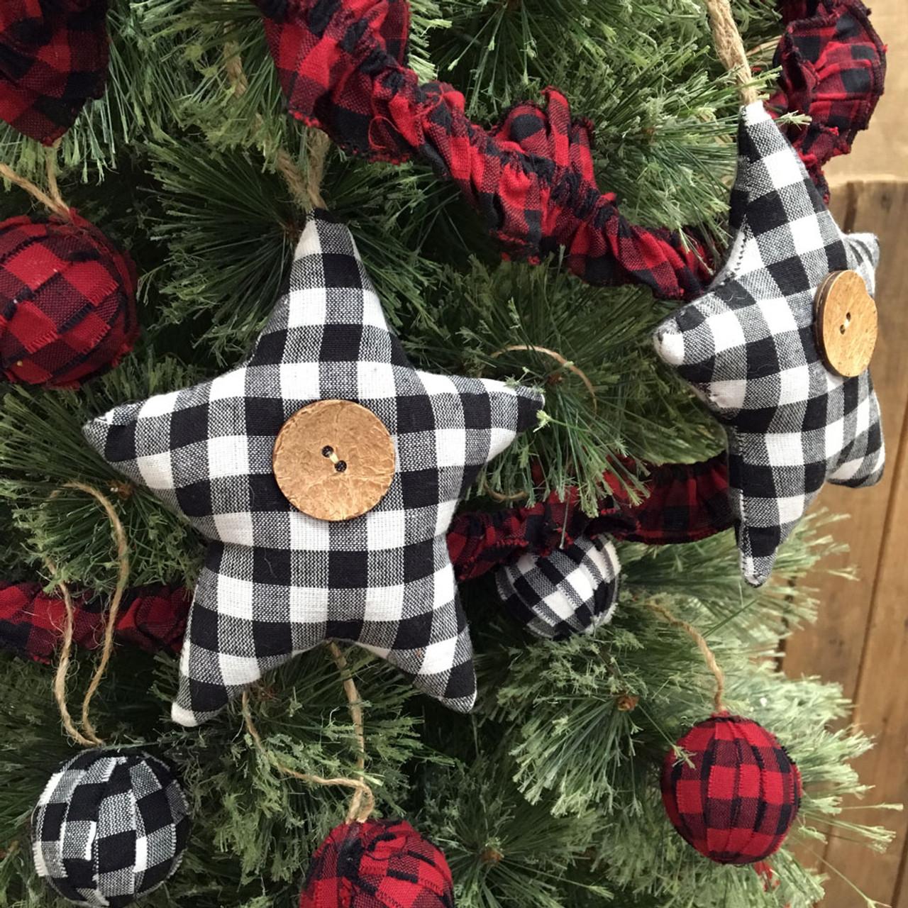 Christmas Ornaments Christmas Tree Ornaments Christmas Buffalo Check Ornament. Christmas Farmhouse Ornaments Fabric Christmas Ornaments