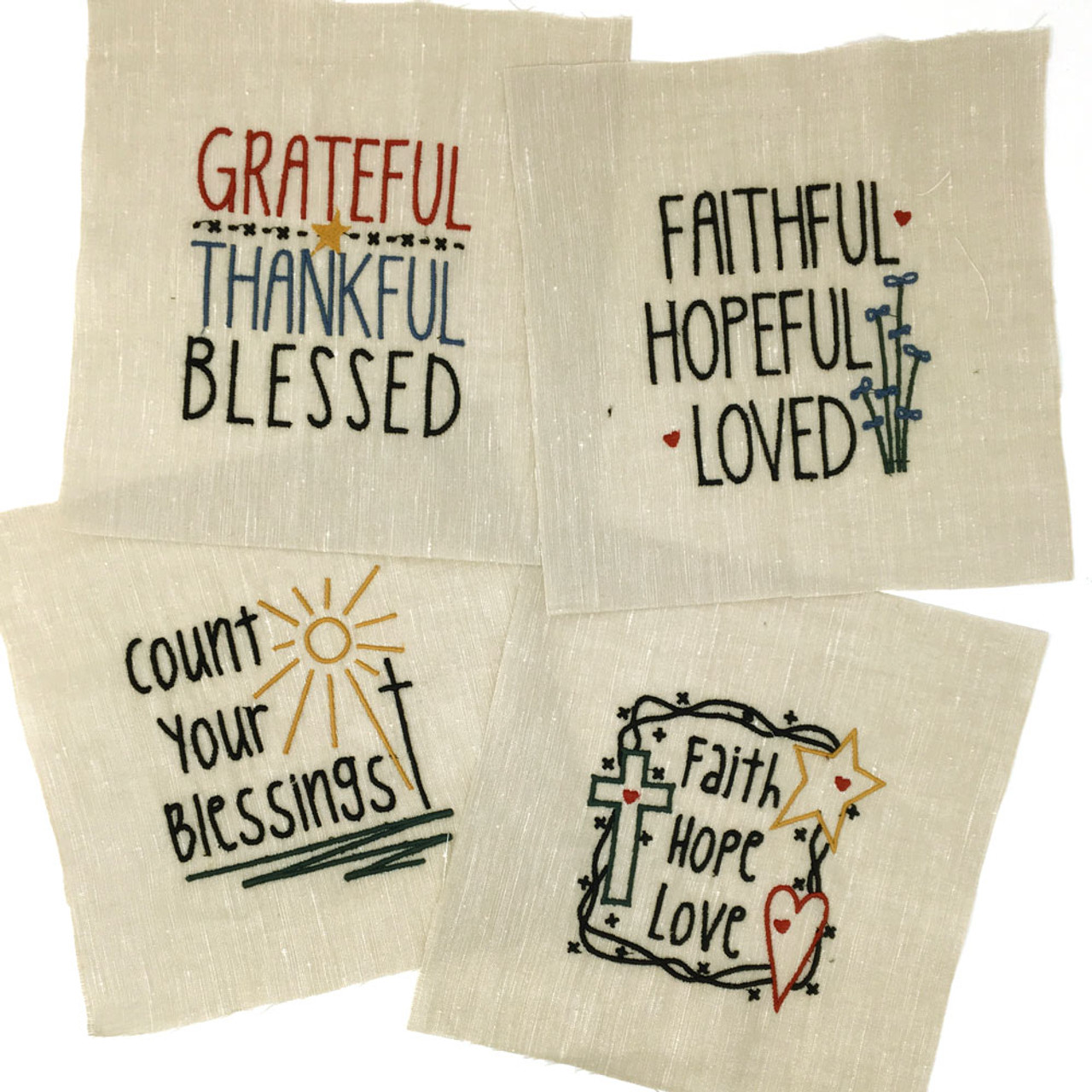 Set of 4 Embroidered Faith Designs - Off White