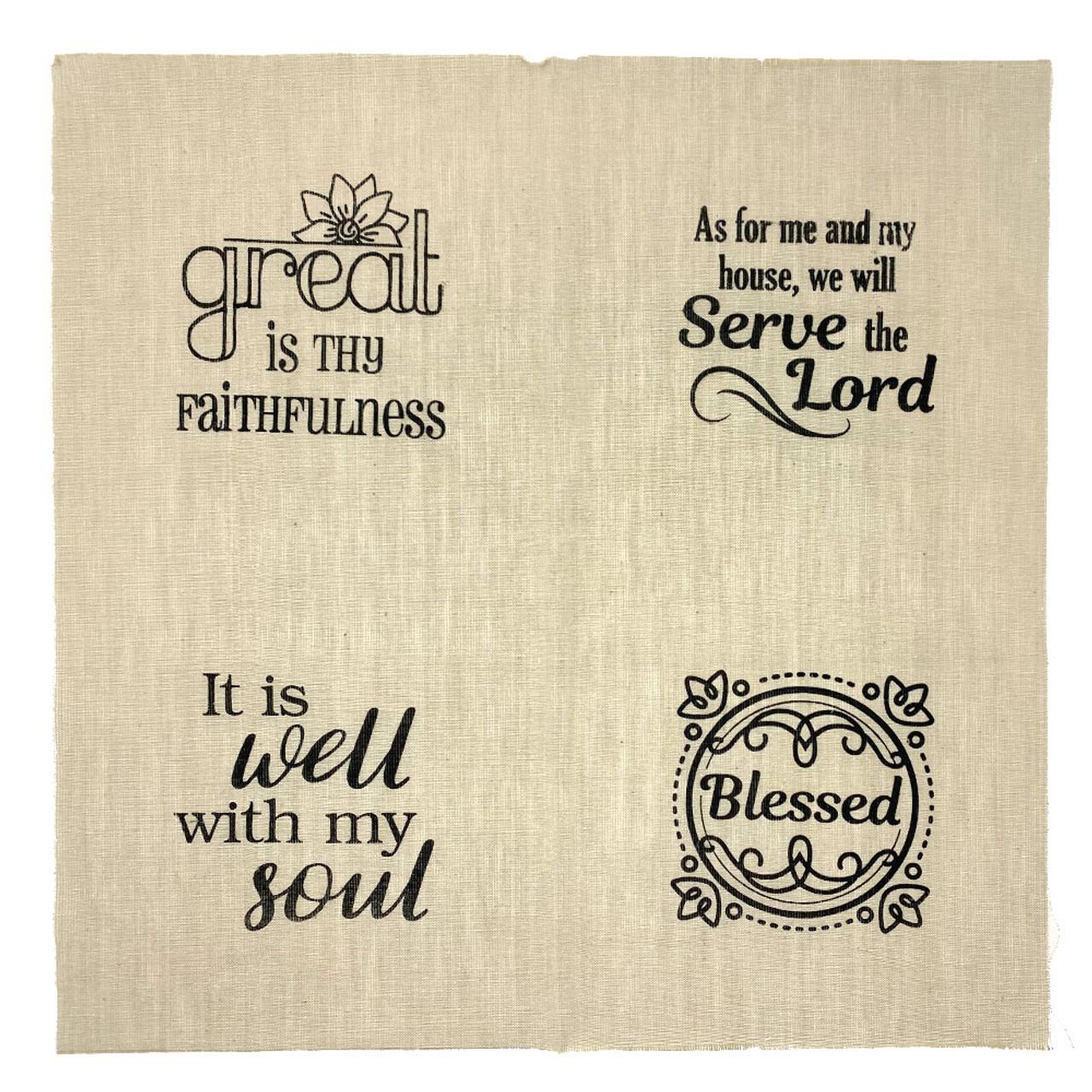 Set of 4 Printed Faith Designs - Off White