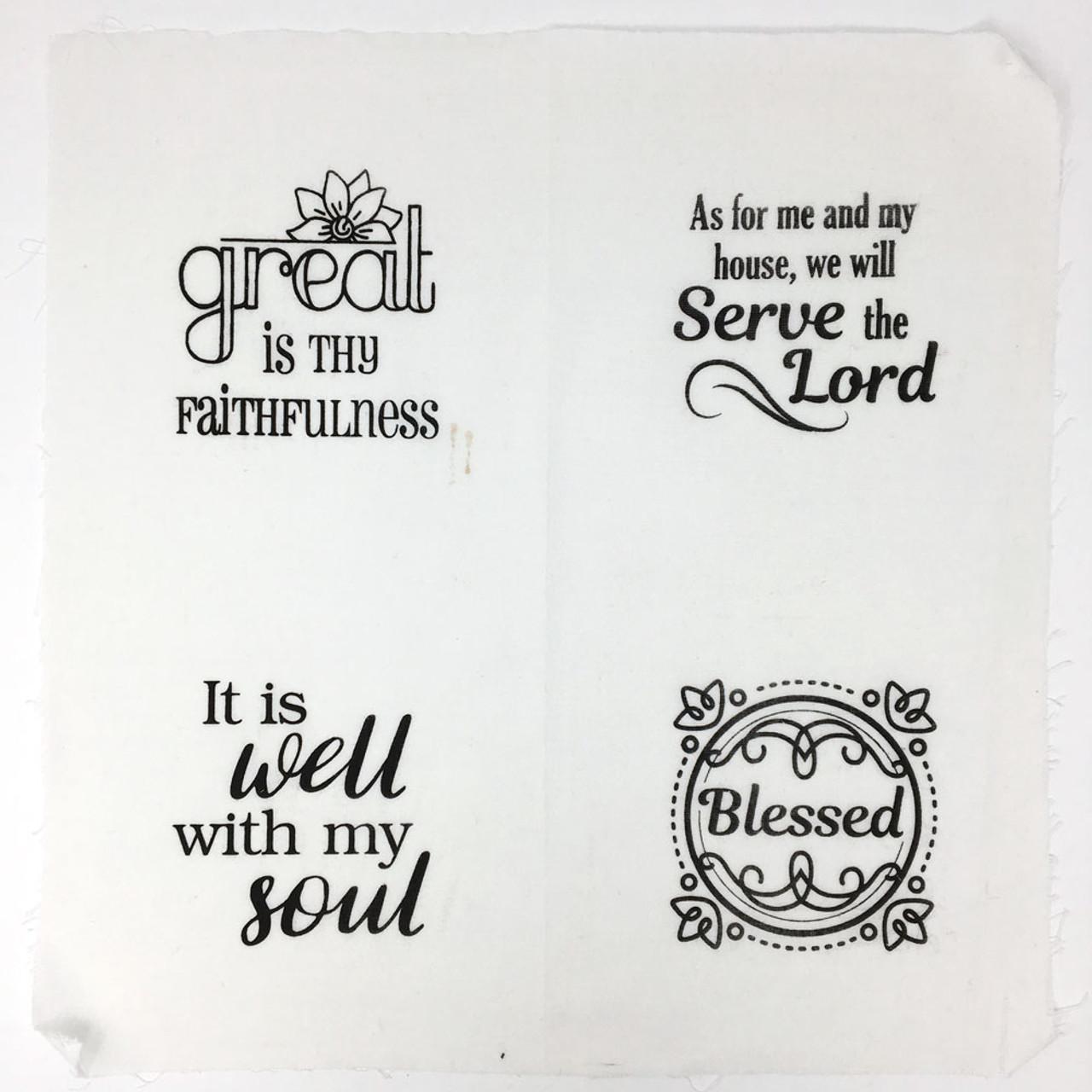 Set of 4 Printed Faith Designs - White