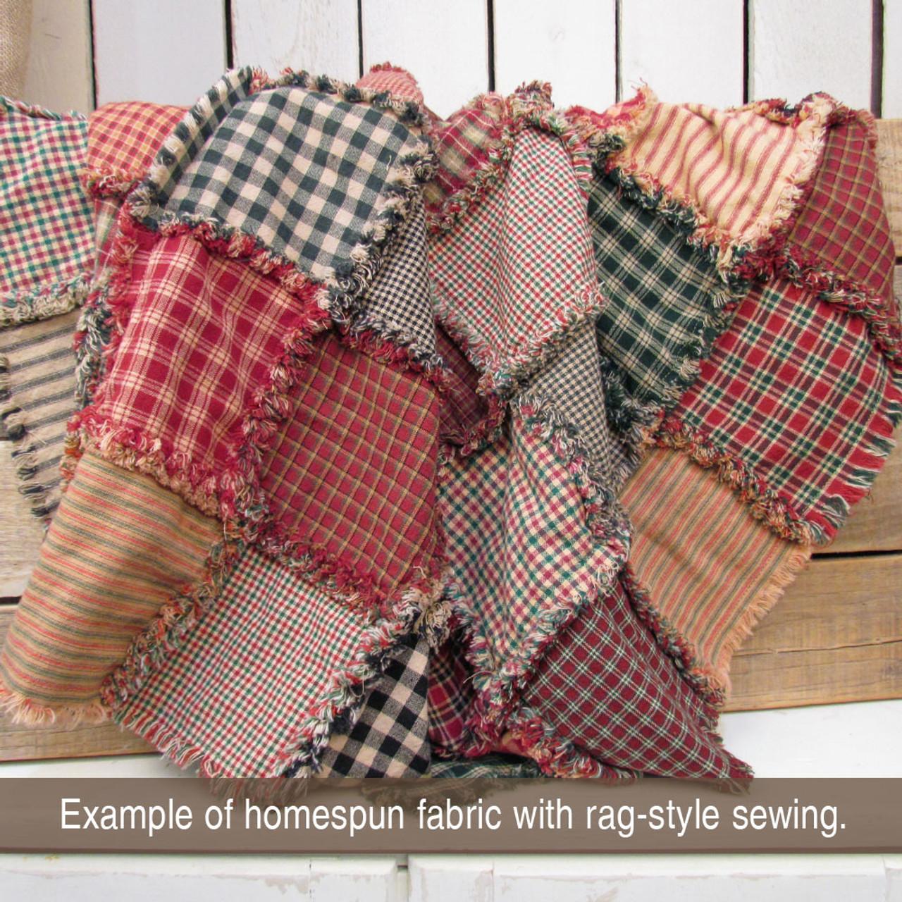 Farmhouse Red & Green Homespun Cotton Fabric