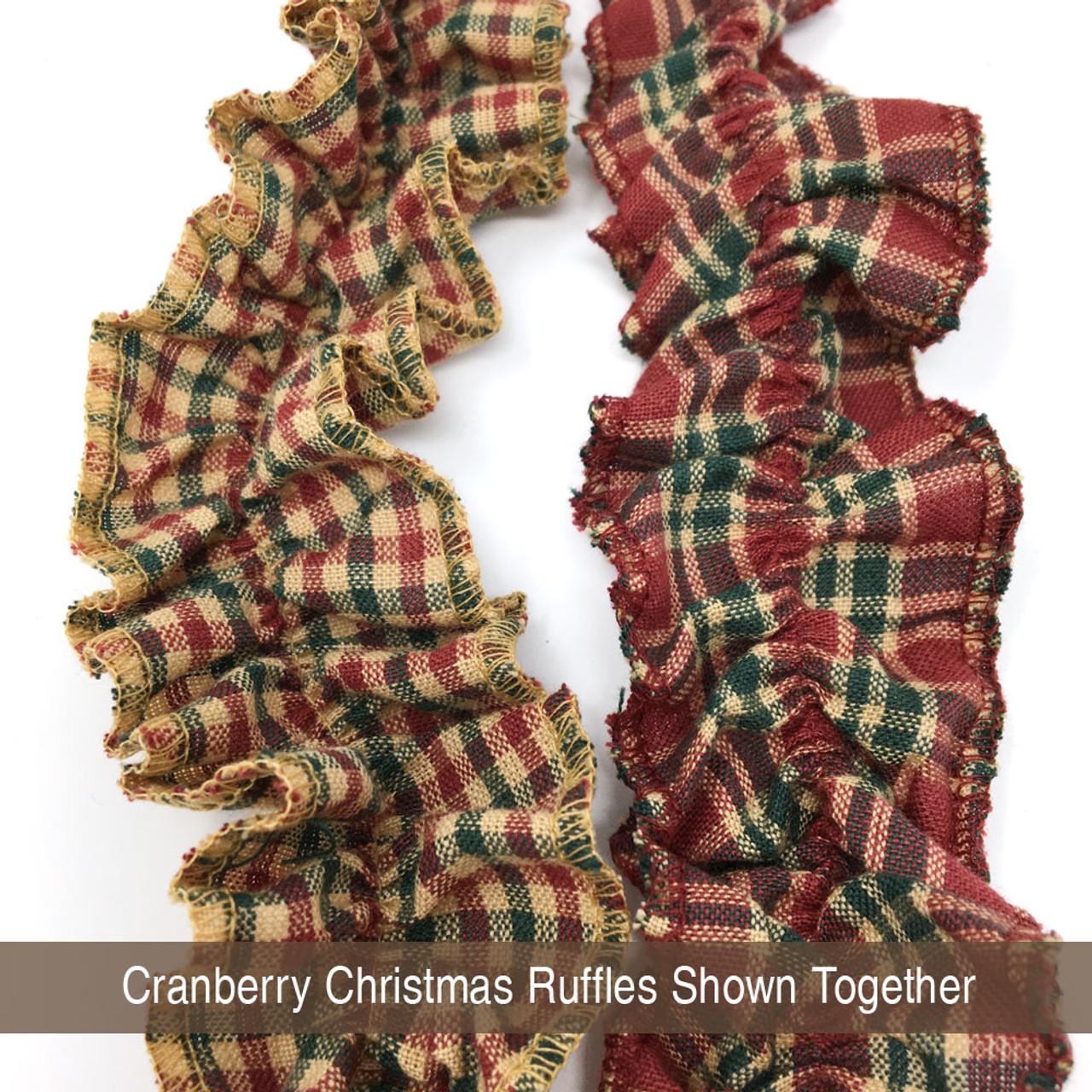 Cranberry Christmas 4 Ruffled Trim/Garland  - 1 roll - 144 inches (12 feet)