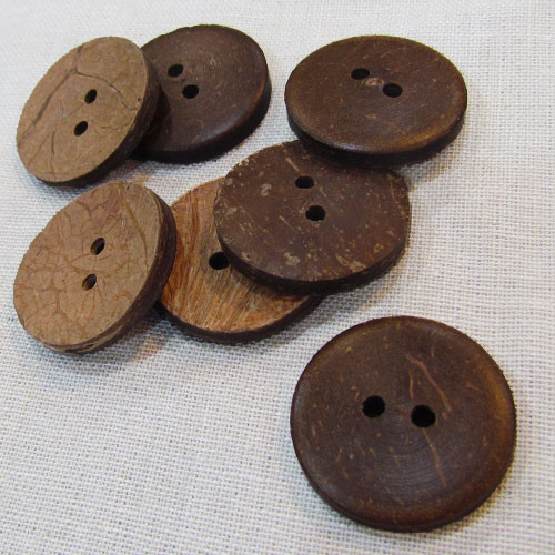 "1"" Rustic Mountain Dark Coconut Wood Button Set of 12"