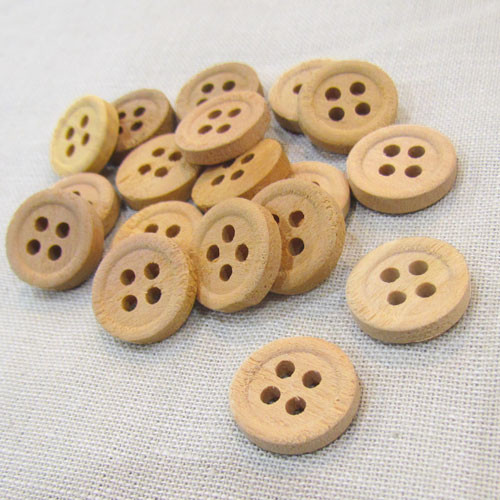"5/8"" Primitive Craft Natural Wood Button Set of 12"