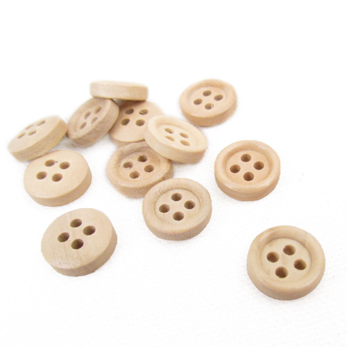 """1/2"""" Chai Small Round Wood Button - Set of 12"""