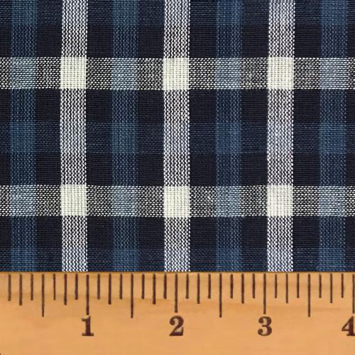 Nautical 5 Blue & Gray Plaid Homespun Cotton Fabric
