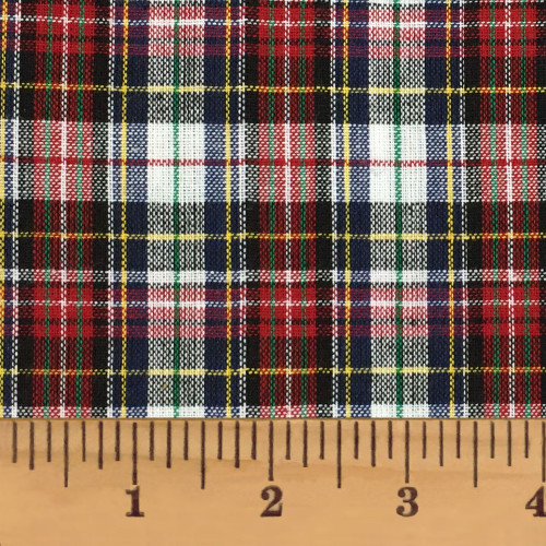 Highland Red Tartan Plaid Homespun Cotton Fabric