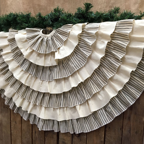 "48"" Ruffled Black Ticking Stripe Christmas Tree Skirt"