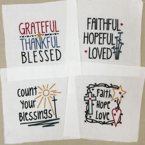 Set of 4 Embroidered Faith Designs - White