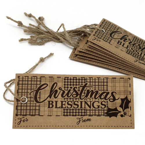 Christmas Blessing Homespun Gift To/From Kraft Tags - Set of 10