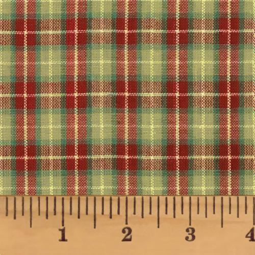 Red & Khaki 7 Homespun Cotton Fabric