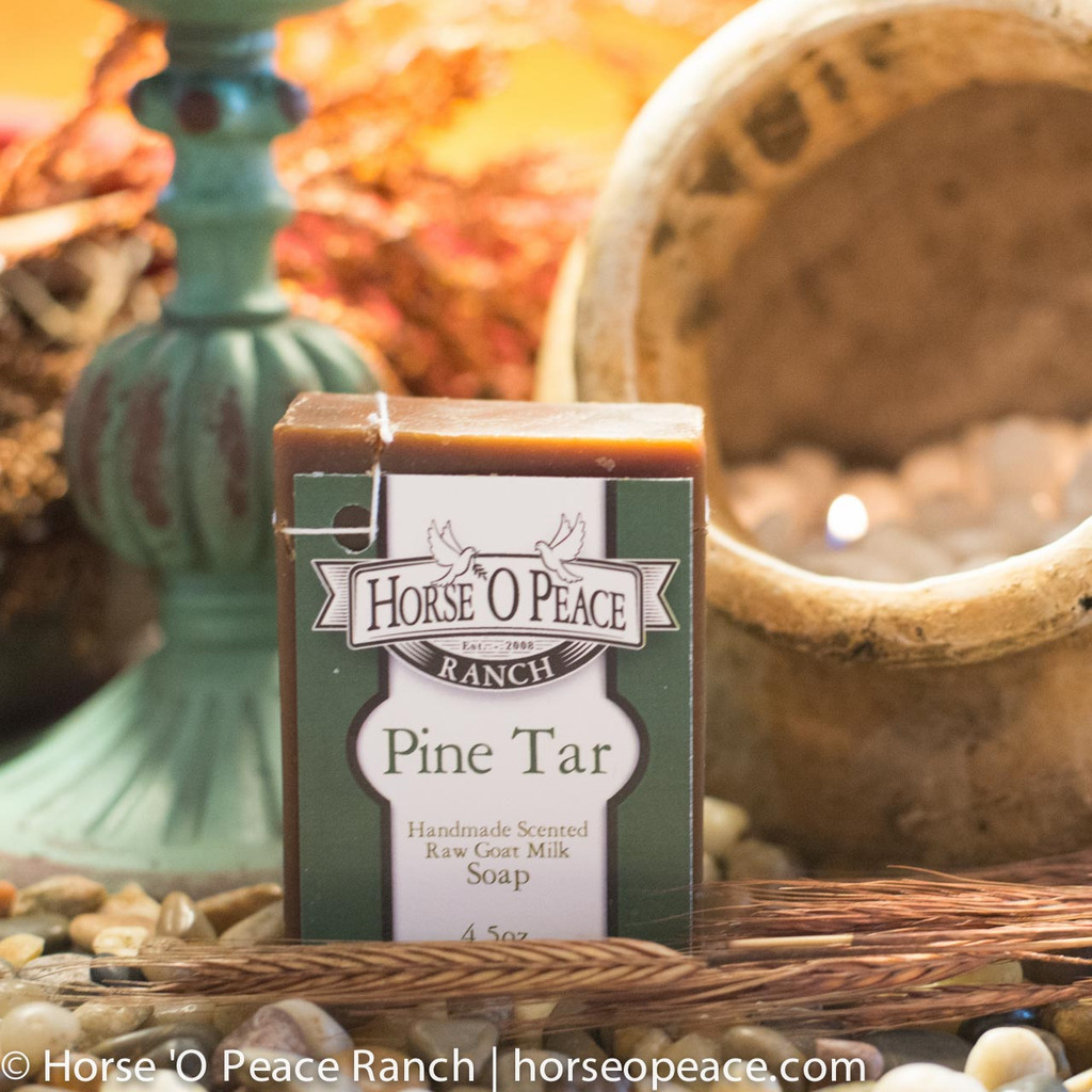 Handmade Herbal Pine Tar 100% Goat Milk Soap Bar 4.5 oz | Horse O Peace Ranch