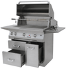Solaire 36 Inch Grill, Premium Cart, Front View, Hood Up, Rotisserie, Doors Open, AGBQ
