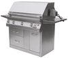 Solaire 42 Inch Grill, Premium Cart, Front View, Hood Down, Rotisserie, Shelves Up, AGBQ