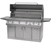 Solaire 56T Grill, Premium Cart B, Front View, Hood Up, Shelves Up