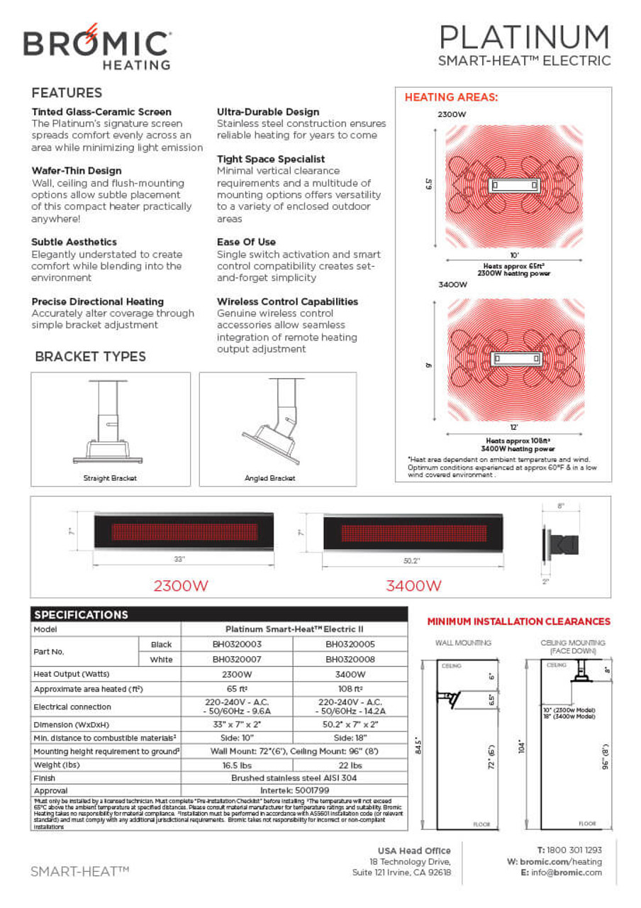 Bromic Platinum Smart-Heat Electric Heater, Specifications