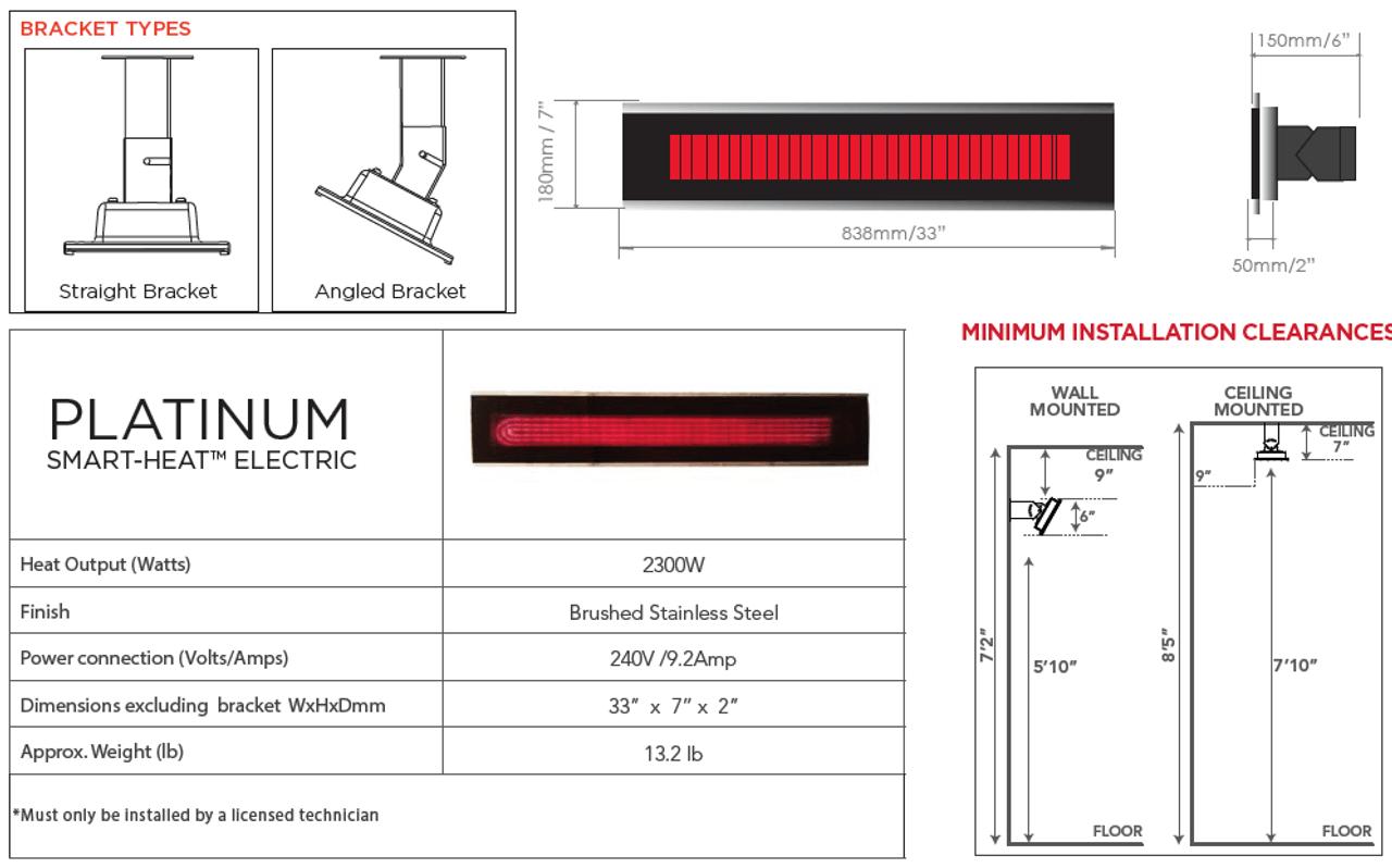 Bromic Platinum Smart-Heat Electric Heater, Dimensions