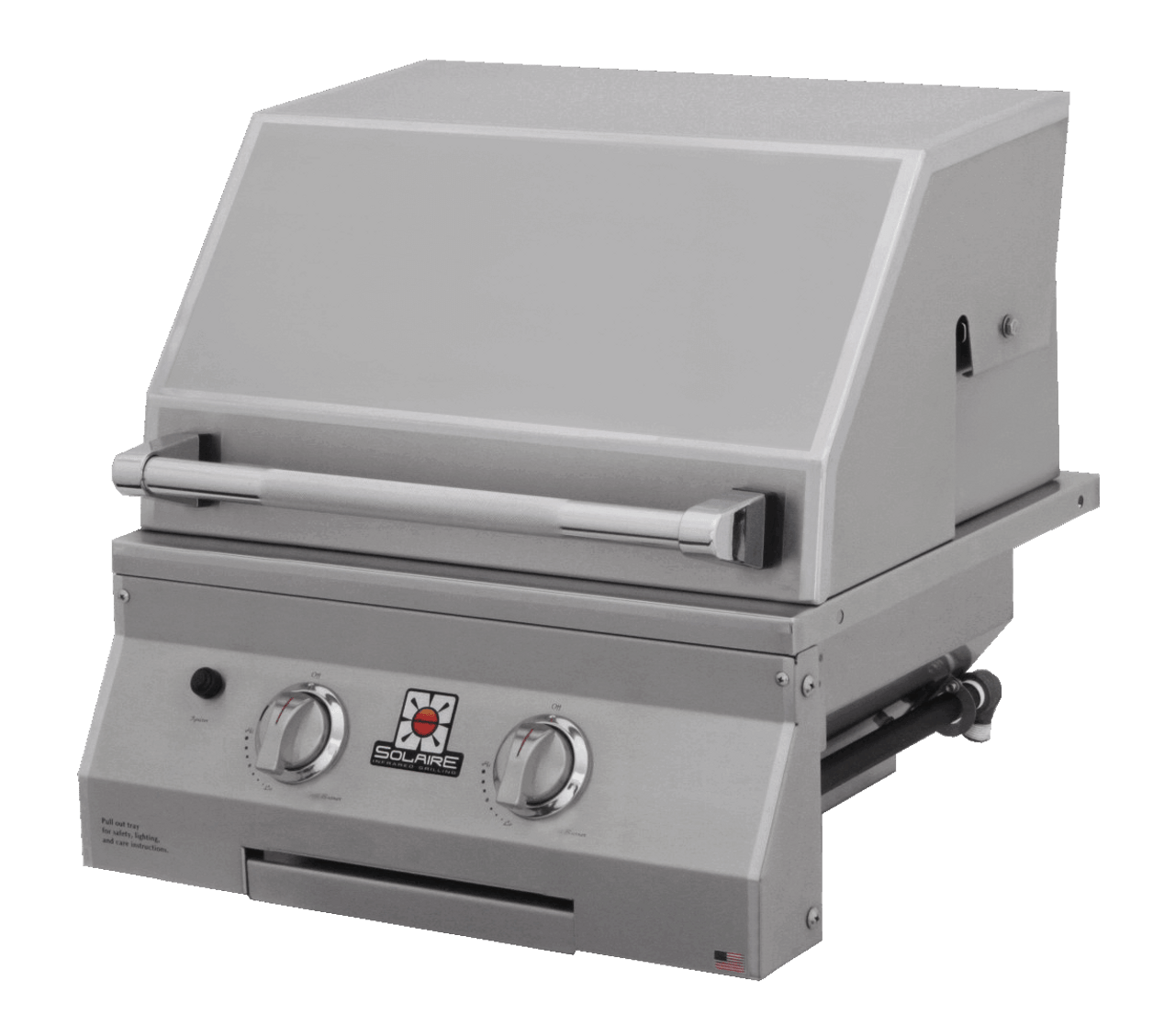 Solaire 21 Inch Grill, Built In, Front View, Hood Down