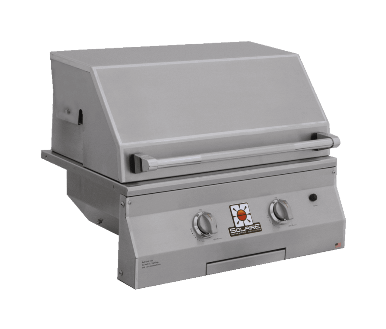 Solaire 27 Inch Grill, Built In, Front View, Hood Down