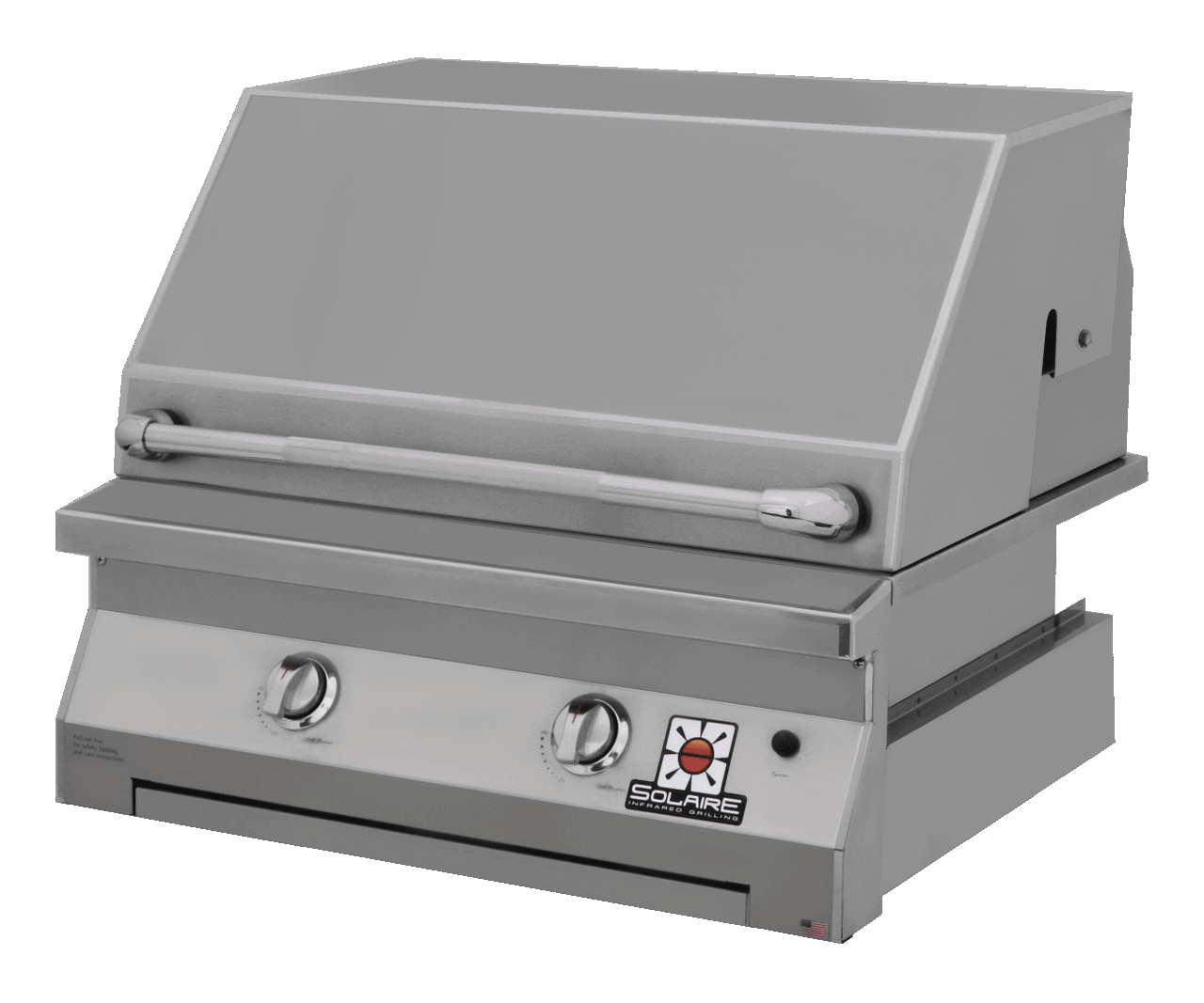 Solaire 30 Inch Grill, Built In, Front View, Hood Down, IRBQ