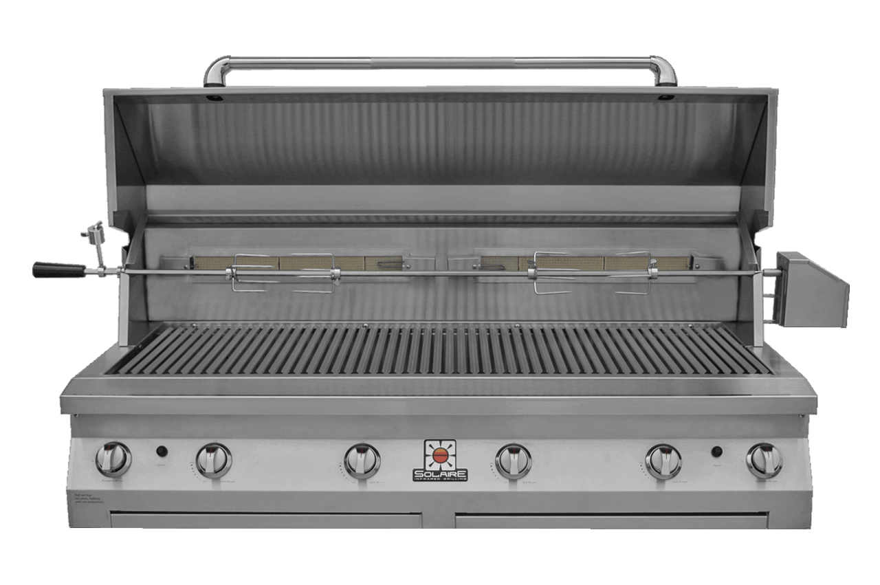 Solaire 56T Grill, Built In, Front View, Hood Up, Rotisserie
