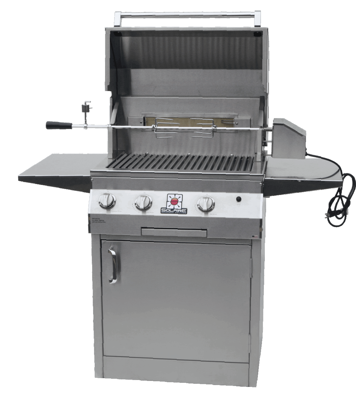 Solaire 27 XL Grill, Square Cart, Front View, Hood Up, Rotisserie, Shelves Up, AGBQ