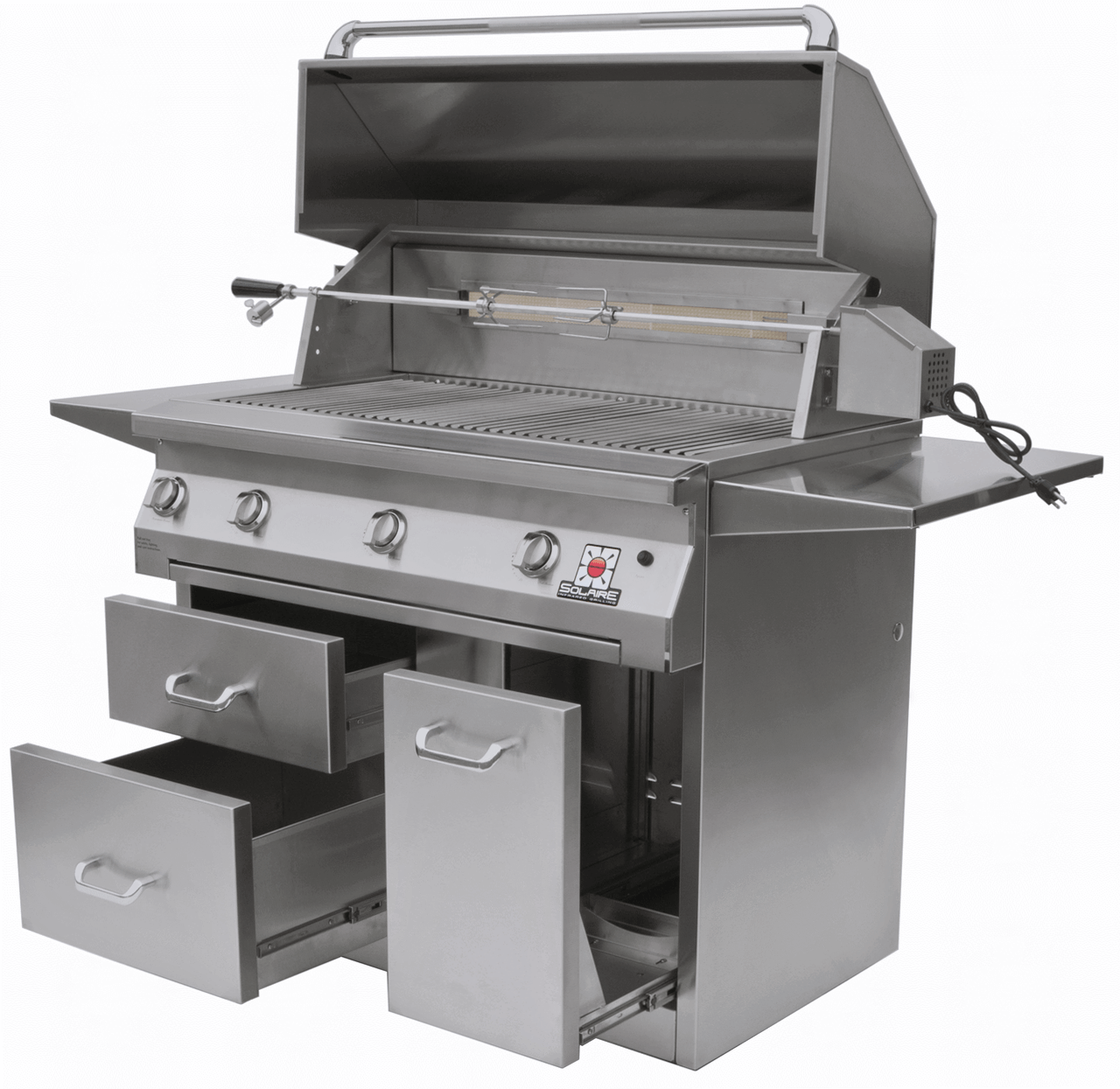 Solaire 42 Inch Grill, Premium Cart, Front View, Hood Up, Rotisserie, Shelves Up, Doors Open, AGBQ