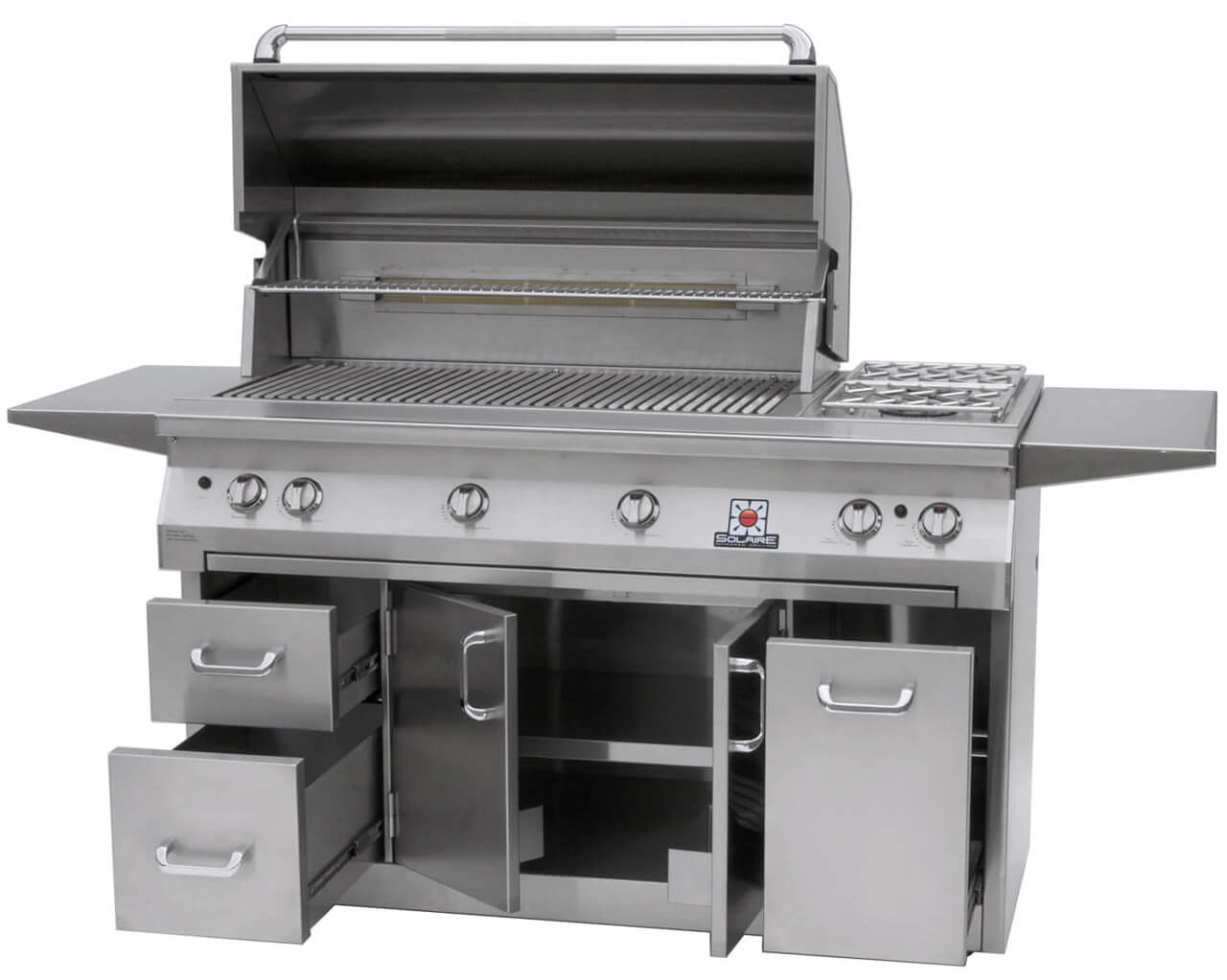 Solaire 56 Inch Grill, Premium Cart A, Hood Up, Shelves Up, Doors Open